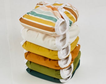 Set of 6 Boho Newborn Cloth Diapers with umbilical cord snaps