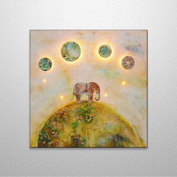 Elefant Lichtinstallation Lichterkette Acryl Auf Leinwand Etsy