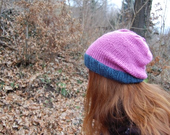 Teal and Lilac Beanie