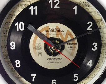 """Joe Cocker """"You Are So Beautiful"""" Record Clock 7"""" 45rpm Recycled Vinyl Record Wall Clock One Of A Kind"""