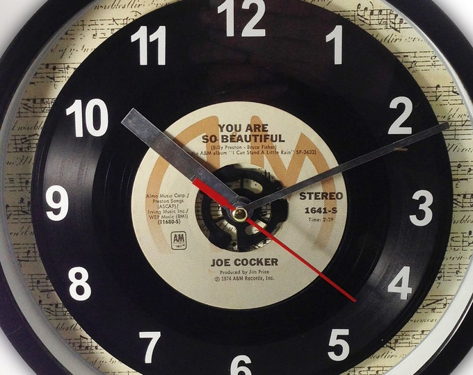 "Joe Cocker ""You Are So Beautiful"" Record Clock 7"" 45rpm Recycled Vinyl Record Wall Clock One Of A Kind"