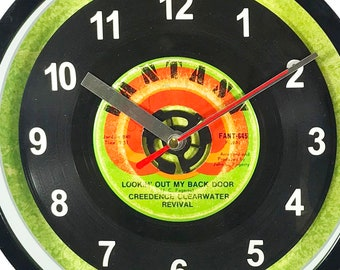 "Creedence Clearwater Revival ""Lookin' Out My Back Door"" Record Clock 7"" 45rpm Recycled Vinyl Record Wall Clock One Of A Kind"