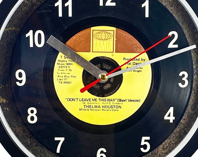 """Thelma Houston """"Don't Leave Me This Way"""" Record Clock 45rpm Recycled Vinyl Record Wall Clock One Of A Kind"""