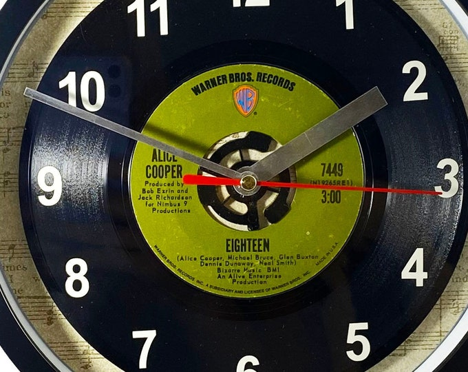 """Alice Cooper """"Eighteen"""" Record Clock 45rpm Recycled Vinyl Record Wall Clock One Of A Kind"""