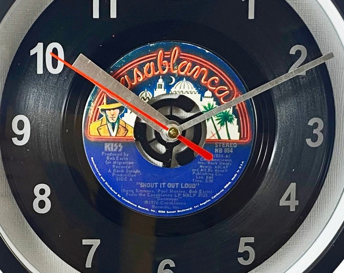 """KISS """"Shout It Out Loud"""" 45rpm Recycled Vinyl Record Wall Clock Apple Records One Of A Kind 7"""" Single"""