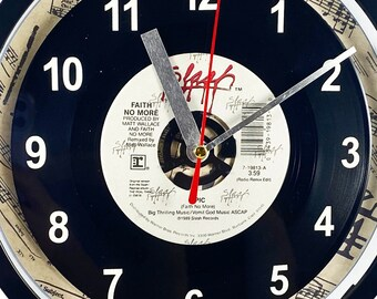 """Faith No More """"Epic"""" Record Clock 45rpm Recycled Vinyl Record Wall Clock One Of A Kind"""