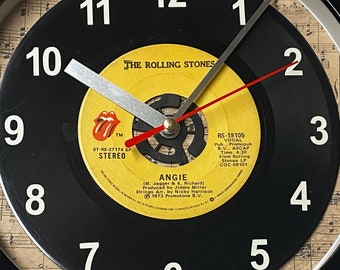 """The Rolling Stones """"Angie"""" Record Clock 7"""" 45rpm Recycled Vinyl Record Wall Clock One Of A Kind"""