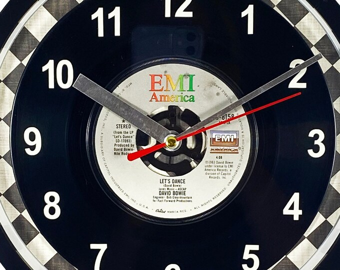 """David Bowie """"Let's Dance""""  Record Clock 45rpm Recycled Vinyl Record Wall Clock One Of A Kind"""