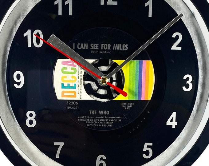 """The Who """"I Can See For Miles"""" Record Clock 7"""" 45rpm Recycled Vinyl Record Wall Clock One Of A Kind"""