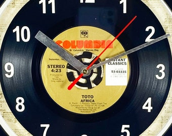 """Toto """"Africa"""" Record Clock 45rpm Recycled Vinyl Record Wall Clock One Of A Kind"""