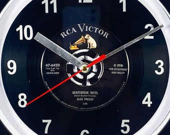 """Elvis Presley """"Heartbreak Hotel"""" Record Clock 7"""" 45rpm Recycled Vinyl Record Wall Clock One Of A Kind"""