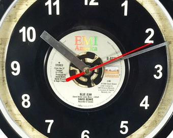 """David Bowie """"Blue Jean""""  Record Clock 45rpm Recycled Vinyl Record Wall Clock One Of A Kind"""