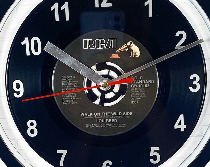 """Lou Reed """"Walk On The Wild Side"""" 45rpm Recycled Vinyl Record Wall Clock One Of A Kind"""