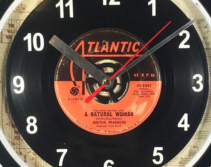 """Aretha Franklin """"A Natural Woman"""" 45rpm Recycled Vinyl Record Wall Clock One Of A Kind 7"""" Single"""