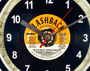 """Dionne & Friends """"That's What Friends Are For"""" Record Clock 45rpm Recycled Vinyl Record Wall Clock One Of A Kind"""