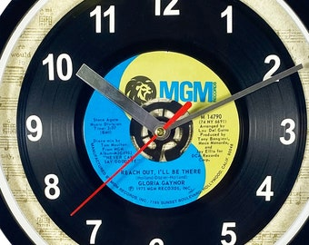 """Gloria Gaynor """"Reach Out, I'll Be There"""" Record Clock 45rpm Recycled Vinyl Record Wall Clock One Of A Kind"""