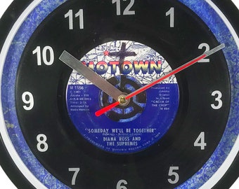 """Diana Ross & The Supremes """"Someday We'll Be Together"""" Motown 45rpm Recycled Vinyl Record Wall Clock One Of A Kind"""