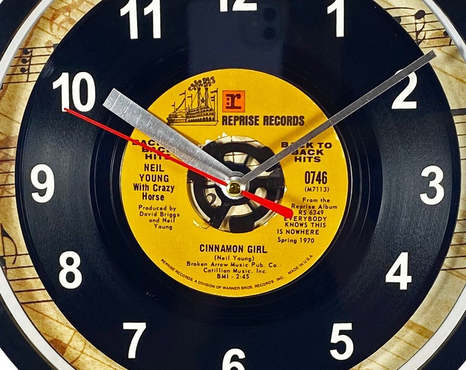 """Neil Young """"Cinnamon Girl"""" Record Clock 45rpm Recycled Vinyl Record Wall Clock One Of A Kind"""
