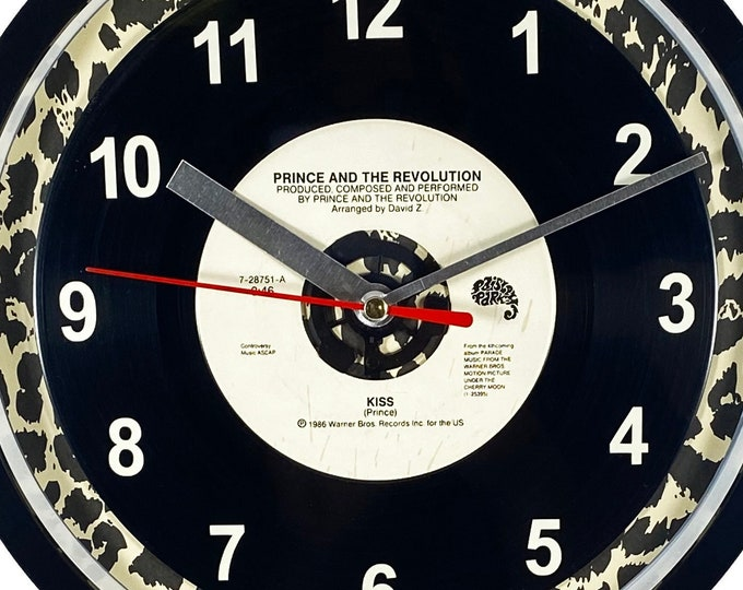 """Prince and the Revolution """"Kiss"""" Record Clock 45rpm Recycled Vinyl Record Wall Clock One Of A Kind"""