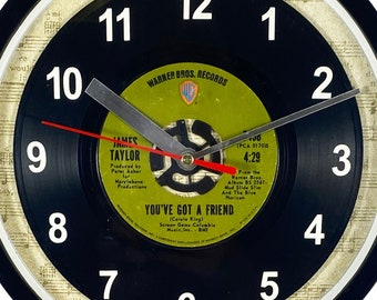 """James Taylor """"You've Got A Friend"""" Record Clock 45rpm Recycled Vinyl Record Wall Clock One Of A Kind"""