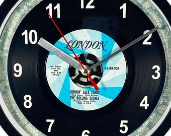 """The Rolling Stones """"Jumpin' Jack Flash"""" Record Clock 45rpm Recycled Vinyl Record Wall Clock One Of A Kind"""