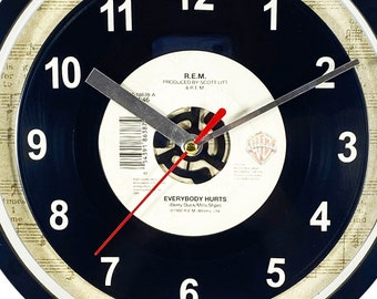 """R.E.M. """"Everybody Hurts"""" Record Clock 45rpm Recycled Vinyl Record Wall Clock One Of A Kind"""