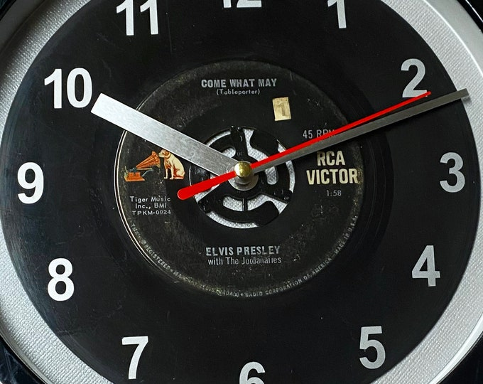 """Elvis Presley """"Come What May"""" Record Clock 7"""" 45rpm Recycled Vinyl Record Wall Clock One Of A Kind"""