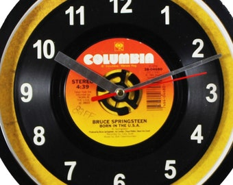 """Bruce Springsteen """"Born In The U.S.A."""" Record Clock 7"""" 45rpm Recycled Vinyl Record Wall Clock One Of A Kind"""