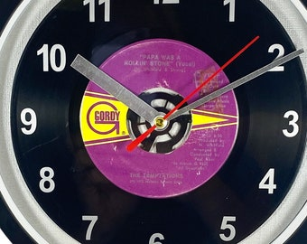 """The Temptations """"Papa Was A Rollin' Stone"""" Record Clock 45rpm Recycled Vinyl Record Wall Clock One Of A Kind"""