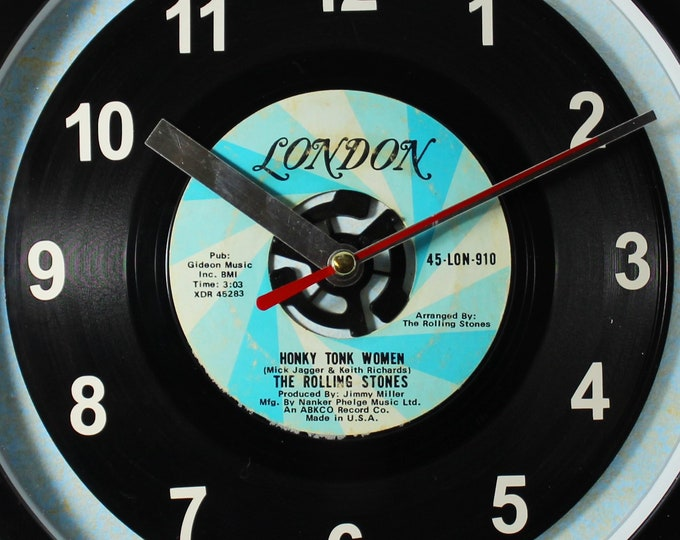 """The Rolling Stones """"Honky Tonk Women"""" Record Clock 7"""" 45rpm Recycled Vinyl Record Wall Clock One Of A Kind"""