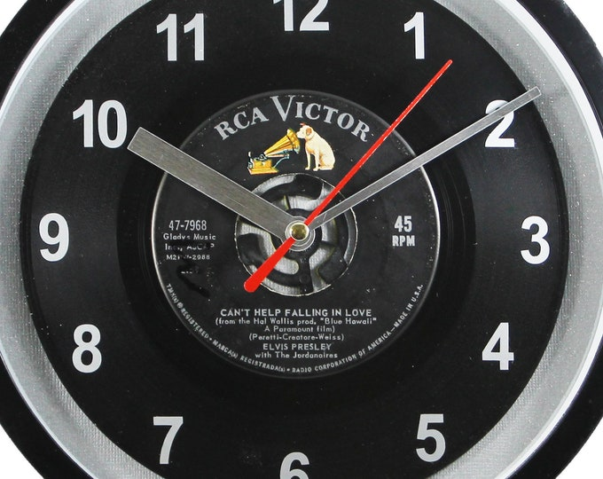 """Elvis Presley """"Can't Help Falling In Love"""" Record Clock 7"""" 45rpm Recycled Vinyl Record Wall Clock One Of A Kind"""