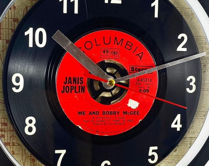 """Janis Joplin """"Me and Bobby McGee"""" 45rpm Recycled Vinyl Record Wall Clock Apple Records One Of A Kind 7"""" Single"""