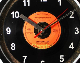 "Steve Miller ""Take The Money And Run"" Record Clock 45rpm Recycled Vinyl Record Wall Clock One Of A Kind"