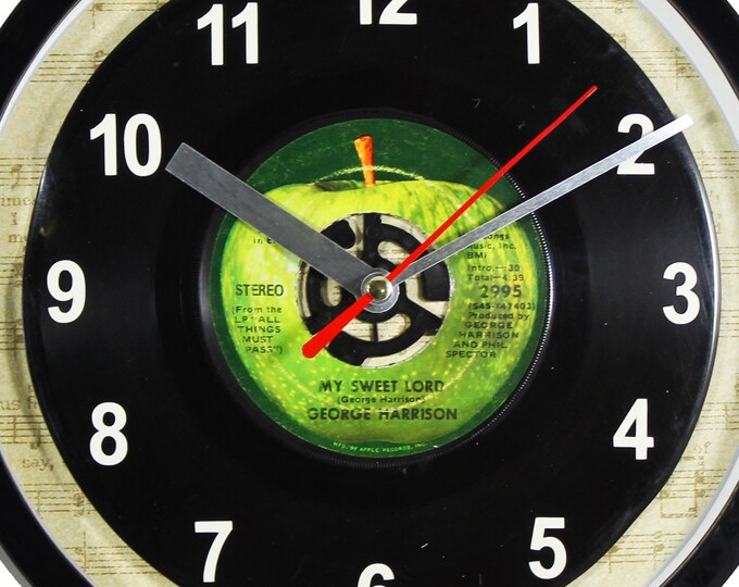 "George Harrison ""My Sweet Lord"" Record Clock 45rpm Recycled Vinyl Record Wall Clock One Of A Kind"