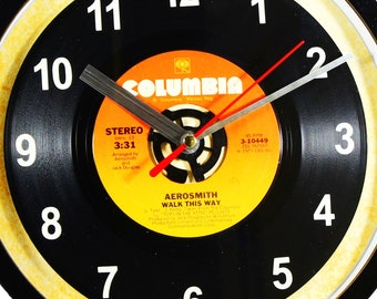 """Aerosmith """"Walk This Way"""" 45rpm Recycled Vinyl Record Wall Clock Apple Records One Of A Kind 7"""" Single"""