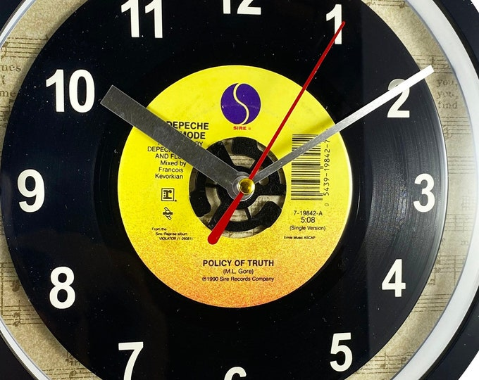 """Depeche Mode """"Policy Of Truth"""" Record Clock 7"""" 45rpm Recycled Vinyl Record Wall Clock One Of A Kind"""