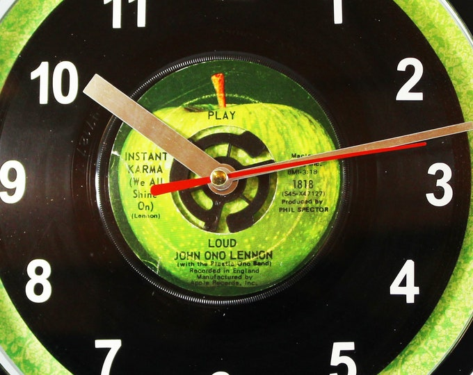 "John Ono Lennon ""Instant Karma"" Record Clock 7"" 45rpm Recycled Vinyl Record Wall Clock One Of A Kind Beatles"