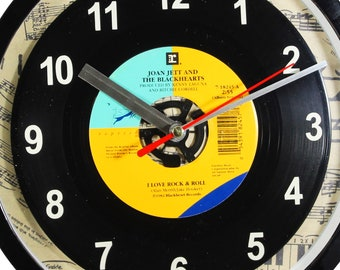 """Joan Jett and the Blackhearts """"I Love Rock & Roll"""" 45rpm Recycled Vinyl Record Wall Clock Apple Records One Of A Kind 7"""" Single"""