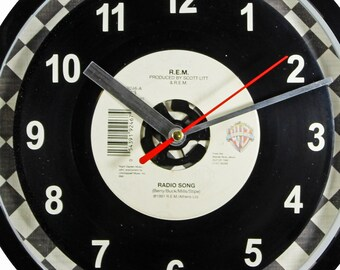 "R.E.M. ""Radio Song"" Record Clock 45rpm Recycled Vinyl Record Wall Clock One Of A Kind"