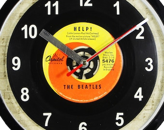 """The Beatles """"Help!"""" 45rpm Recycled Vinyl Record Wall Clock Apple Records One Of A Kind 7"""" Single"""