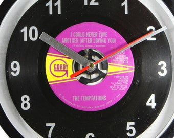 """The Temptations """"I Could Never Love Another (After Loving You)"""" Record Clock 7"""" 45rpm Recycled Vinyl Record Wall Clock One Of A Kind"""