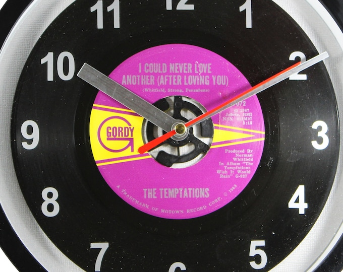 "The Temptations ""I Could Never Love Another (After Loving You)"" Record Clock 7"" 45rpm Recycled Vinyl Record Wall Clock One Of A Kind"