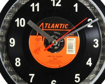"INXS ""Need You Tonight"" 45rpm Recycled Vinyl Record Wall Clock One Of A Kind"