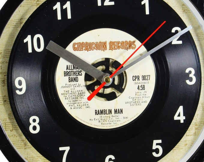 """Allman Brothers Band """"Ramblin' Man'"""" 45rpm Recycled Vinyl Record Wall Clock Apple Records One Of A Kind 7"""" Single"""
