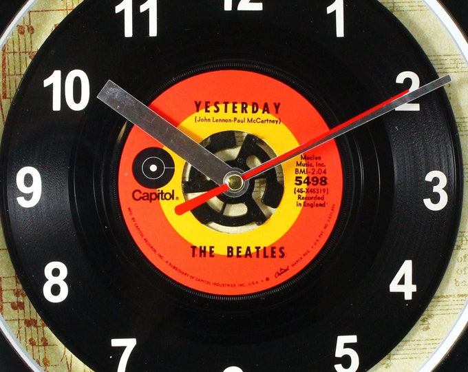 """The Beatles """"Yesterday"""" Record Clock 45rpm Recycled Vinyl Record Wall Clock One Of A Kind"""