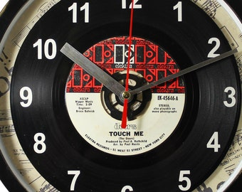 "Doors ""Touch Me"" Record Clock 45rpm Recycled Vinyl Record Wall Clock One Of A Kind"