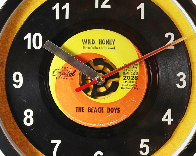 """The Beach Boys """"Wild Honey"""" Record Clock 45rpm Recycled Vinyl Record Wall Clock One Of A Kind"""