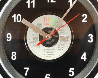"David Bowie ""Without You""  Record Clock 45rpm Recycled Vinyl Record Wall Clock One Of A Kind"