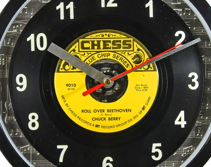 "Chuck Berry ""Roll Over Beethoven"" Record Clock 45rpm Recycled Vinyl Record Wall Clock One Of A Kind"