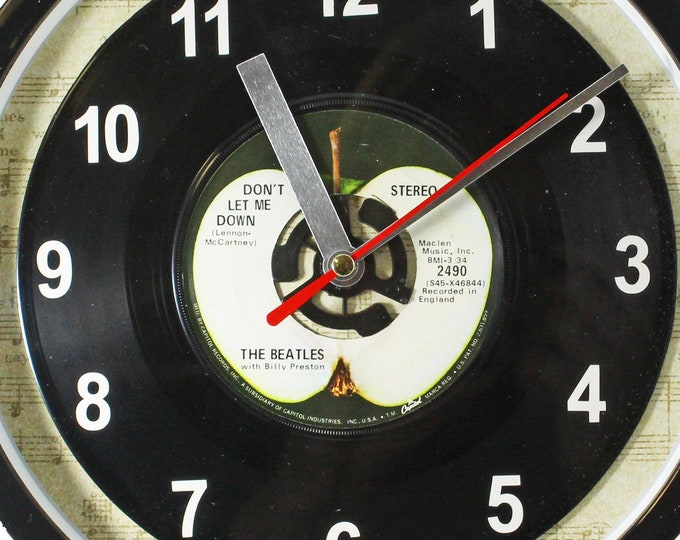 """The Beatles """"Don't Let Me Down"""" 45rpm Recycled Vinyl Record Wall Clock Apple Records One Of A Kind 7"""" Single"""